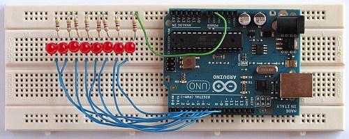 Arduino Knight Rider Breadboard Circuit